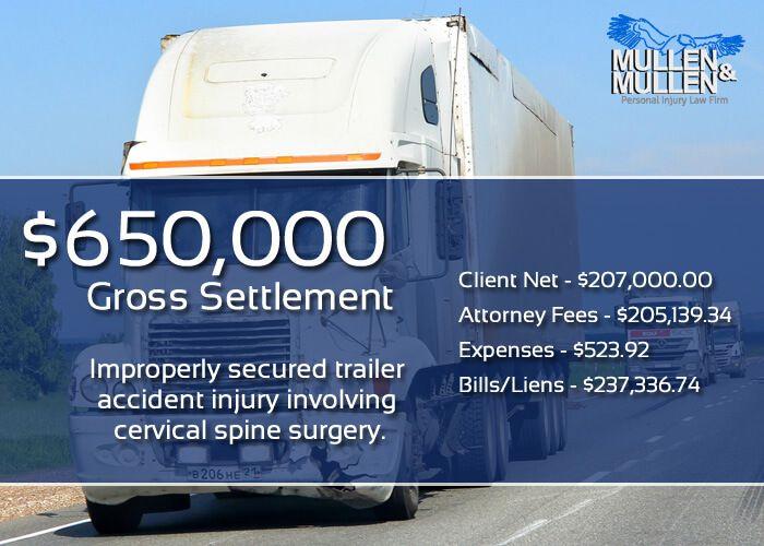 $650,000 Settlement - Improperly Secured Trailer Caused Cervical Spine Injury
