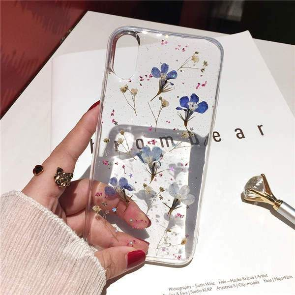 Real Flowers Dried Flowers Transparent Soft TPU Co…