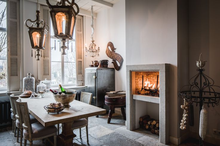Kitchen inspiration, vintage, antique, kitchen fireplace, fridge, dining table, wine, old windows, shutters, room, interior, antique floor tiles