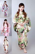 Venta al por mayor como pan caliente la tradicional pijama kimono Geisha bata de raso vestido de kimono japonés tradicional(China (Mainland))