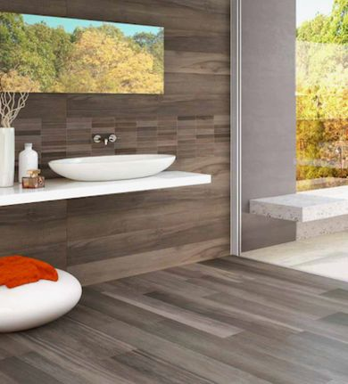 From Bob: For small half baths, I find many clients want to keep their flooring traditional. But for the larger bathrooms and master suites, 12 x 24 porcelain floor tiles are popular, particularly those that replicate wood and tweed patterns.