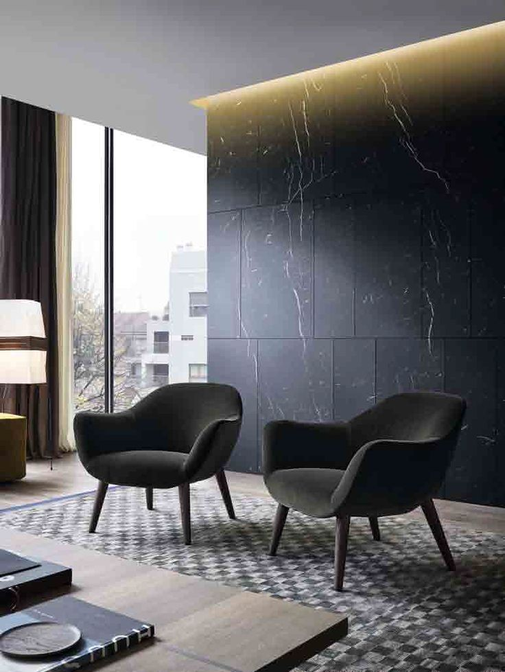 contemporary room -limed oak, grays and black- Shadow gap + material