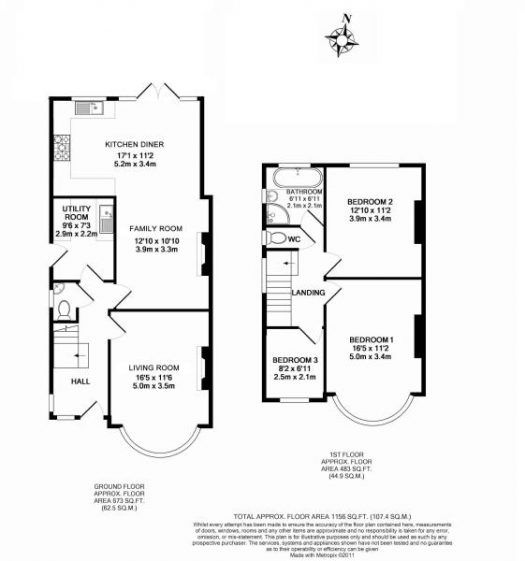 3 bed house floor plan rear extension - Google Search