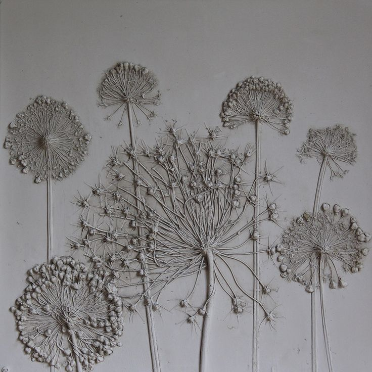 Tactile Studio plaster cast flower pictures - seen at 2014 Chelsea Flower Show. Alliums