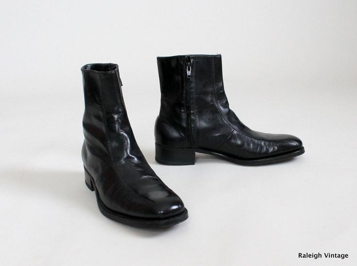 Vintage 1960s Mens Boots 60s 70s MOD Black Ankle