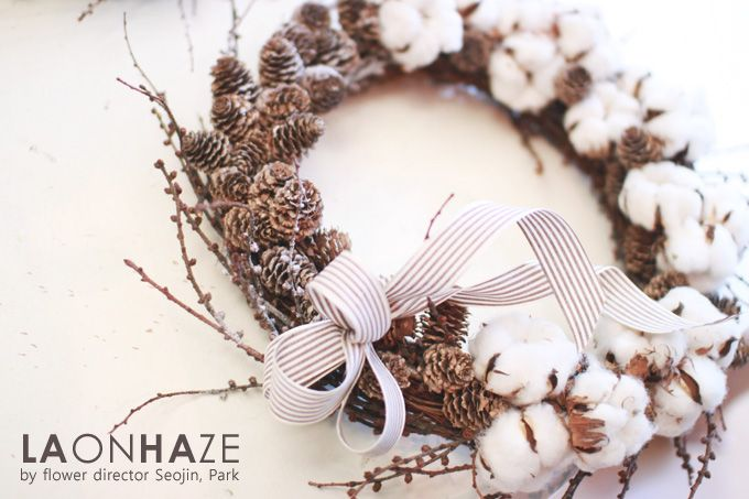 Cotton Wreath by laonhazeflowers www.laonhaze.com