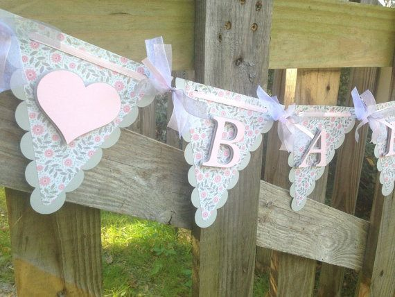 Pink and Grey Baby Shower Banner  Shabby by SharingAPassionINC, $24.75