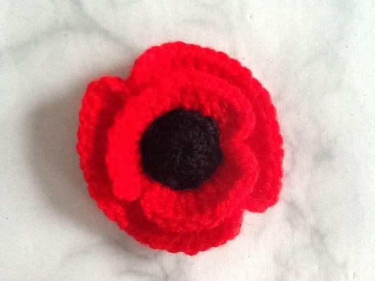 Handmade Crochet Red Poppy Brooch