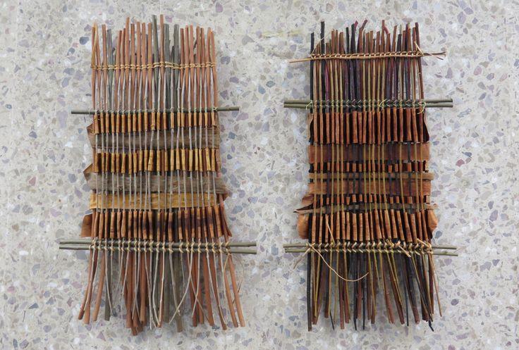 Bark Weaving Series. Bark Weaving – the Dark 2012.  Bark Weaving – the Light 2012.  By Mary Butcher MBE, Trade Advisor, Basketmakers Company.  Exhibition at Guildhall Library, 12 September - 29 November 2013.