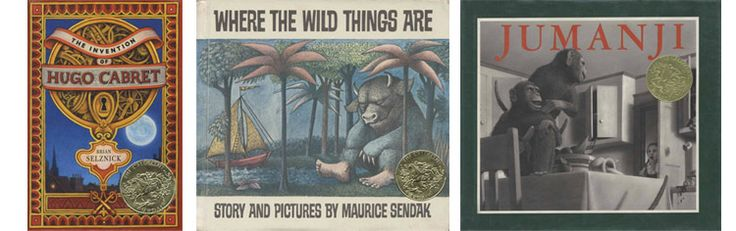 обладатели Кальдекотта : Крис Ван Оллсбург – за «Джуманджи» (1982)Морис Сендак – за книгу «Там, где живут чудовища» (1963).Брайан Селзник – за книгу «Хранитель времени» (2008),
