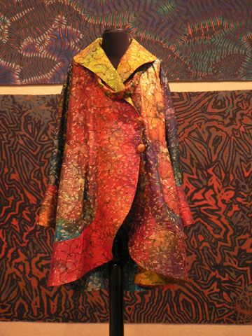 """SHIBORI ART - Work by Carter Smith on display in the Hillestad Gallery includes """"Piazza Coat,"""" made of embroidered silk."""