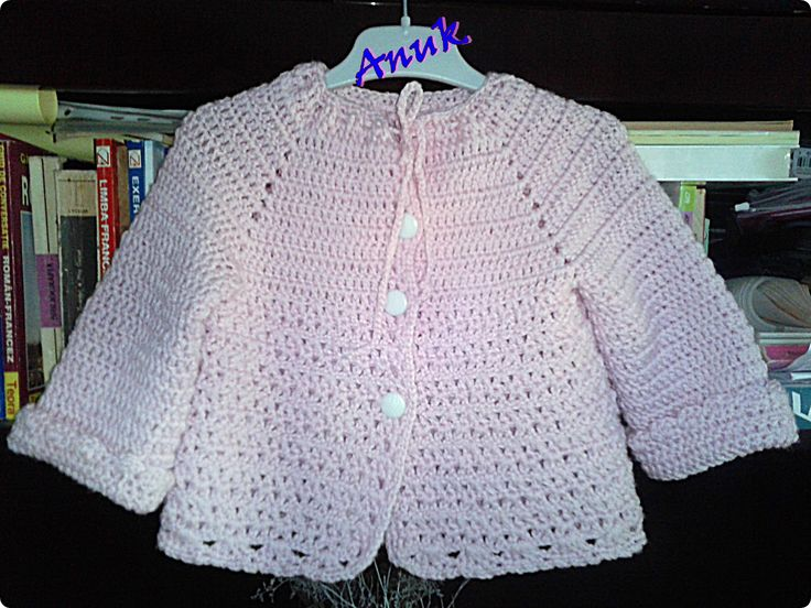 Baby pink crochet jacket 18 months