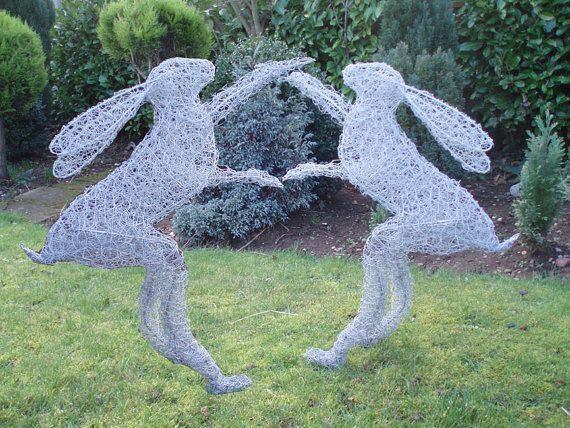 Hare Boxing lifesize garden sculpture handmade in by wirelifeuk, £65.00