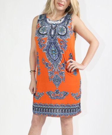 Orange Scarf Print Shift Dress - Plus #zulily #zulilyfinds