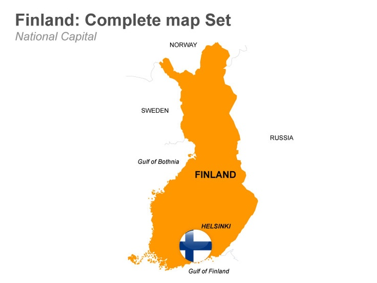 Finland Map - Editable Keynote Map Slides.  This deck of 33 editable Keynote map slides illustrates the outline map of Finland with its capital city Helsinki. There are other map slides which show the country's regions and their capitals. Buy now from muezart.com