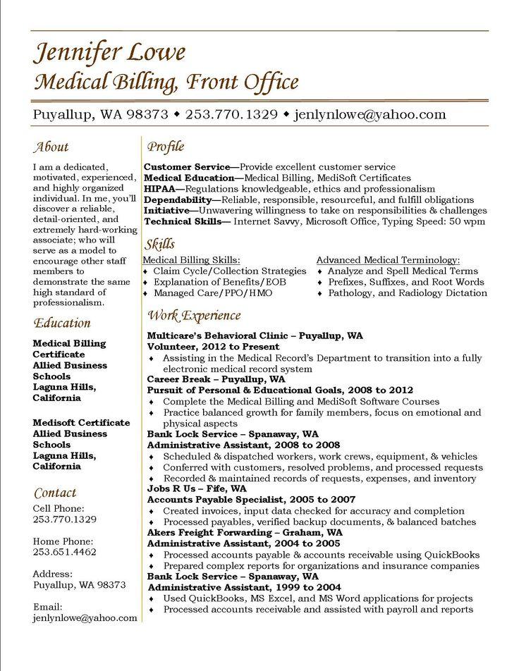 Jennifer Lowe Resume - Medical Billing #resume #career