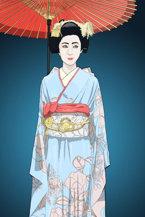 Japanese Geisha Illustration by ORAZ , via Behance
