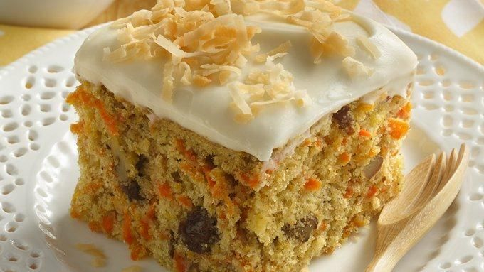 Morning Glory Carrot Cake.....   With whole wheat flour, carrots, raisins and walnuts, a small slice of this classic cake goes a long way to please your palate!