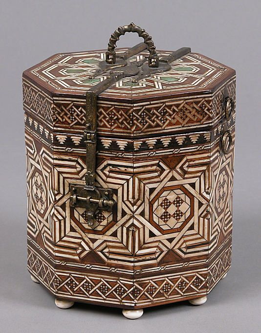 Octagonal Box,15th century  Spanish.  Ivory and various wood inlays,polychromy,gilt copper alloy mounts.