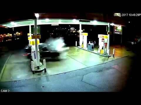 North Seattle Gas Pump on Fire After Being Hit by Runaway Uber