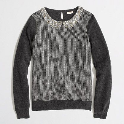 J.Crew Factory - Factory warmspun herringbone jewel-collar sweater