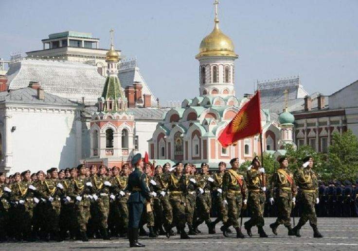 Kyrgyz troops march in the Victory Day parade on May 9, 2010 at Red Square, in Moscow, Russia