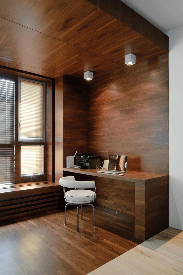 """Создание нового пространства в комнате за счёт деревянного """"короба""""."""