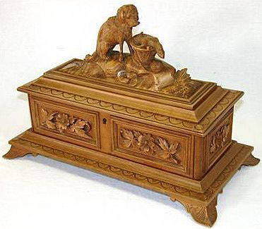 Antique black forest hand carved jewelry casket rare for Muebles ebay