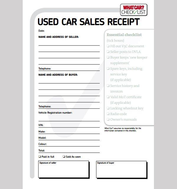 Car Sale Receipt Template Receipt Template Invoice Example Invoice Template
