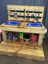Image result for mud kitchens out of pallets