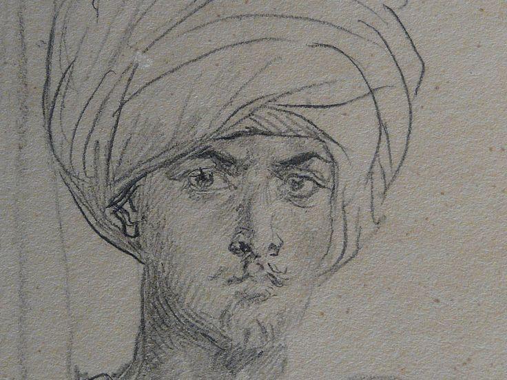 CHASSERIAU Théodore,1846 - Arabe coiffé d'un Turban, debout contre un Arbre - drawing - Détail 11