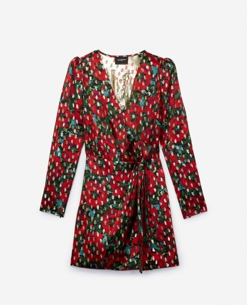 97a3375a5a76e Short wrap dress with epaulettes and lurex Giant Poppy print - THE KOOPLES