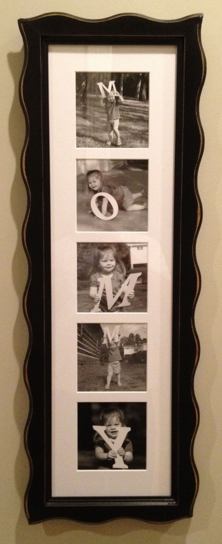 """Did this for Mom for mothers day. I got wooden letters and painted them, then took photos and got them framed. I plan on doing it every few years as the kids grow up."""