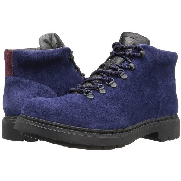 Camper Hardwood - K300089 (Navy) Men's Lace-up Boots ($220) ❤ liked on Polyvore featuring men's fashion, men's shoes, men's boots, mens platform boots, mens navy blue suede shoes, mens platform shoes, navy blue mens shoes and mens suede lace up shoes