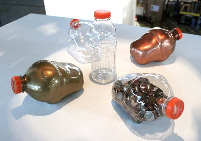 Piggy banks made from gatorade bottles products design for Plastic bottle coin bank