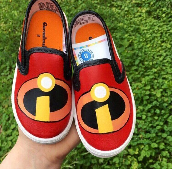 Each pair of shoes is hand painted by me. I use fabric