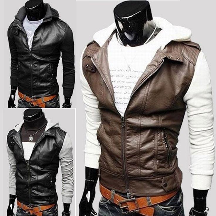 Высокое Качество мужские Кожаные Пальто Серый С Длинным Рукавом Молнии с Шляпа Корейский Короткая Длина Стиль Прохладный Пальто меховой одежды SL