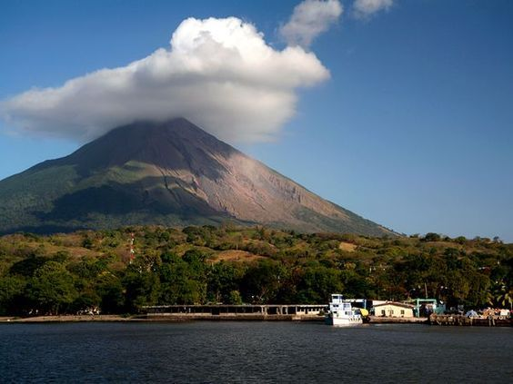 Vulcan Concepción rises behind the port of Moyogalpa on Ometepe Island, Nicaragua.