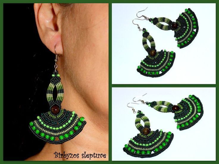 """Macrame earrings """"Green Fans"""" with Agate stone beads and czech glass seed beads <3"""