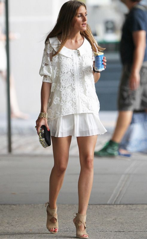 Olivia Palermo. White top + white skirt + beige sandals
