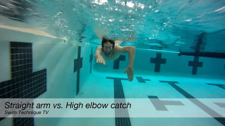 Demonstration of high elbow catch vs. straight arm in ...