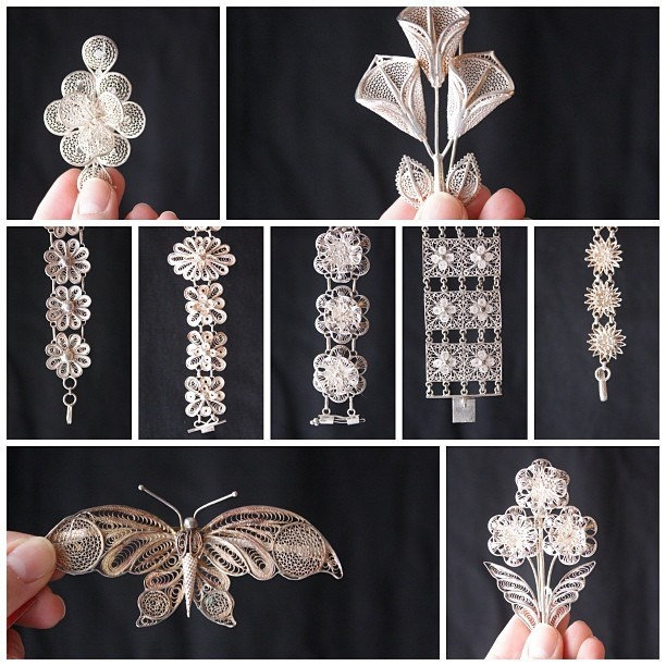 New to the shop: 1940s Burmese silver filigree jewelry. - http://iheartlbi.com/new-to-the-shop-1940s-burmese-silver-filigree-jewelry/