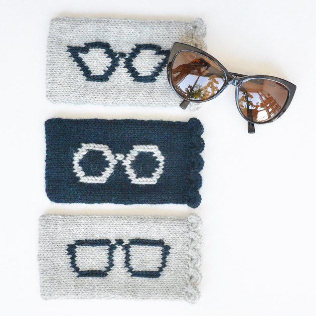 This silhouette sunglasses case is a soft, worsted weight case to hold your sunnies, complete with a scallop edge. This case is knit in the round and the silhouette is added using duplicate stitch, so choose the sunglasses that best suit your style. I hope you enjoy this pattern!