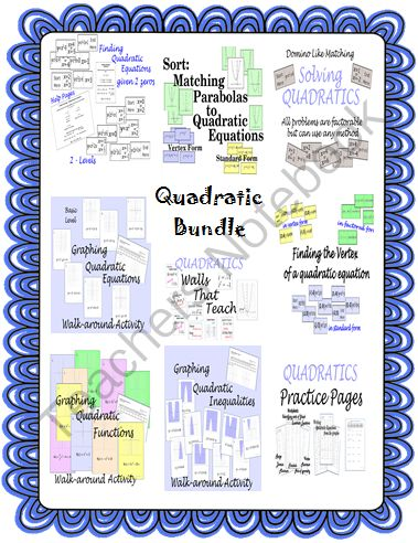 Back to School Giveaway - Back to School Giveaway to help you get ready for classes..  A GIVEAWAY promotion for Quadratic Equations Bundle Pack-Graphing-Finding Vertex-and More from CarynLovesMath on TeachersNotebook.com (ends on 8-31-2013)