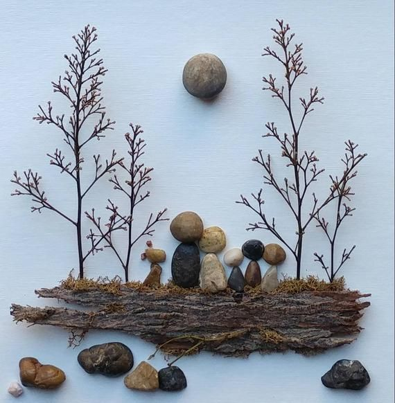 Kieskunstfamilie, Wandkunst, Familie Kieskunst, einzigartige Kieskunst, Pebble Art Ideen, Pebble Art Picture, 8x10x2 Shadowbox