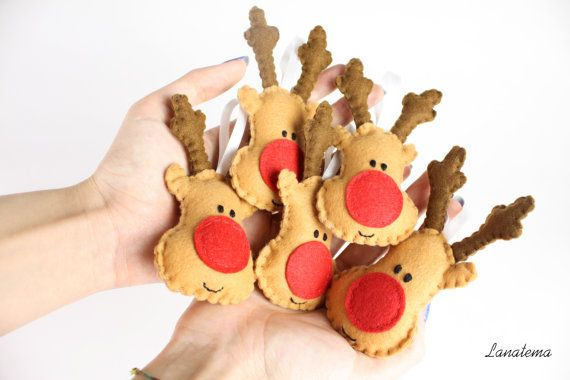 Reindeers felt ornament, Christmas decorations, red nose reindeer, handmade, Christmas tree, rudolph ornament, quantity 1,3,5,10