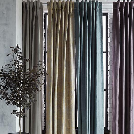 Cotton Luster Velvet Curtain - Platinum | west elm