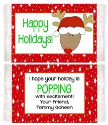 Christmas Holiday Reindeer Microwave Popcorn Label. A unique party favor for winter holiday parties.