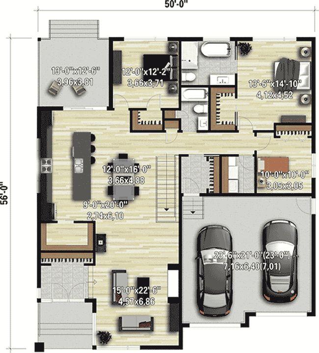 Plan 80913pm Modern 3 Bed House Plan With 2 Car Garage Garage House Plans House Plans Modern House Plans Modern house plan with garage
