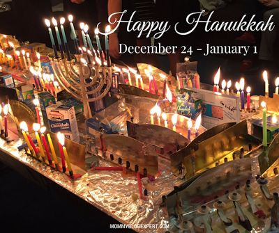 Happy Hanukkah to everyone celebrating this Jewish Holiday Festival of Lights December 24, 2016 to January 1, 2017. Here's what the menorahs will look like by the 8th night.
